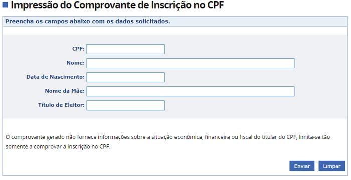 Solicitar Segunda via CPF