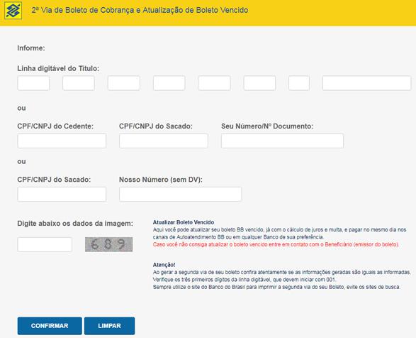 Como atualizar boleto BB – Banco do Brasil